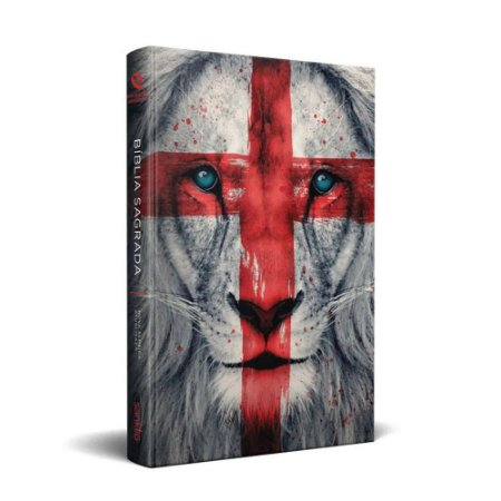 Bíblia Sagrada NAA Média Capa Soft Touch Leão Cruz