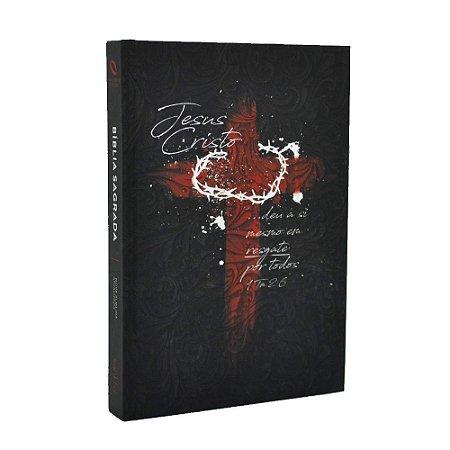 Bíblia Sagrada NAA Média Capa Soft Touch Cruz de Cristo Preta