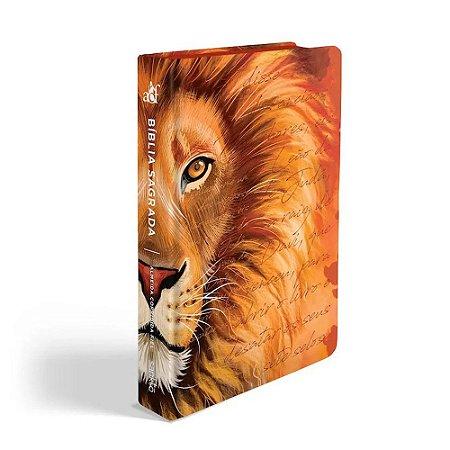 Bíblia Sagrada Letra Grande ACF Média Capa Soft Touch Leão Laranja