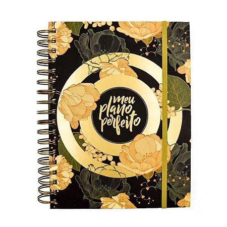 Planner Meu Plano Perfeito Capa Flores Douradas
