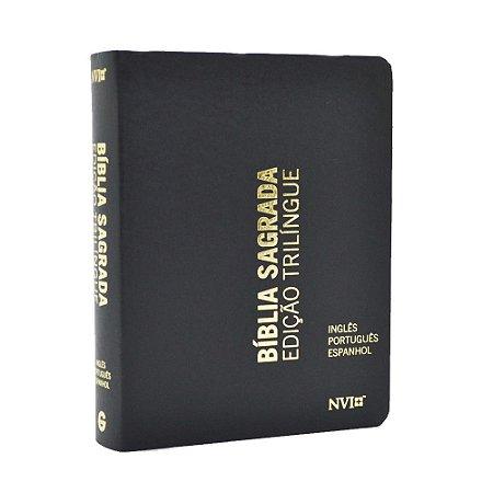 Bíblia Edição Trilíngue NVI Pequena Luxo Preta