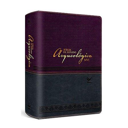 BÍBLIA DE ESTUDO ARQUEOLÓGICA NVI - LUXO VINHO E CINZA