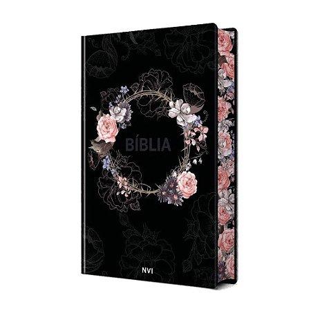 Bíblia Sagrada NVI Média Capa Dura Soft Touch Flores Preta