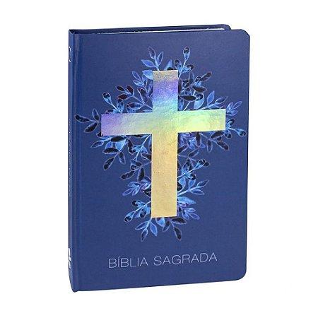 Bíblia Sagrada RA Média Capa Dura Azul Cruz SBB
