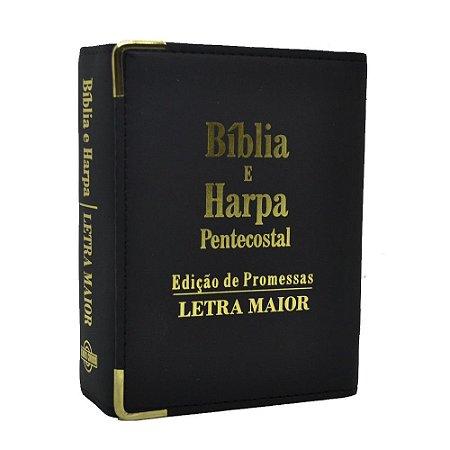 Bíblia E Harpa Pentecostal Edição De Promessas Letra Maior Rc Pequena Carteira Preta