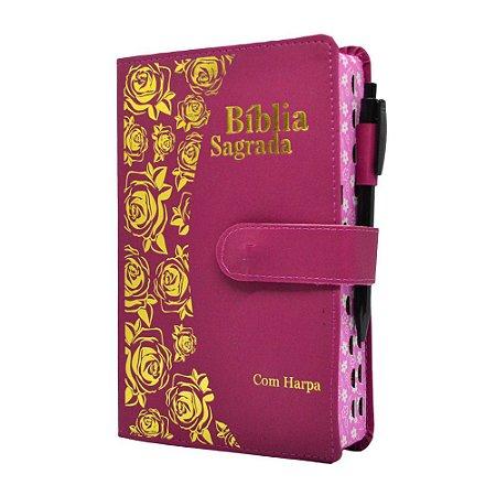 Bíblia Sagrada Letra Hipergigante Harpa Avivada E Corinhos Carteira Pink