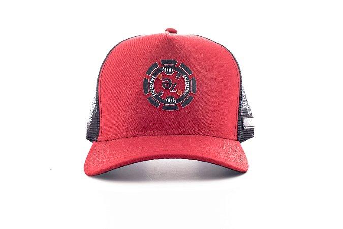 Boné Trucker enzzo five ficha vermelho