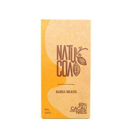 CHOCOLATE EM BARRA 65% COM NIBS 80 G - NATUCOA