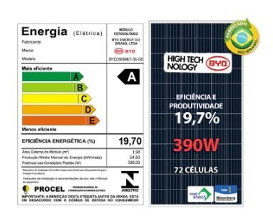 Painel Solar BYD 390 Watts Nacional FINAME