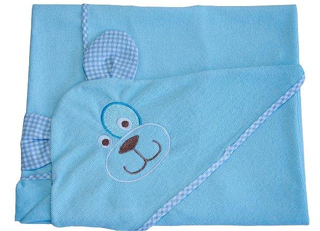Toalha de banho Azul com Capuz em Esponja com Bordado.
