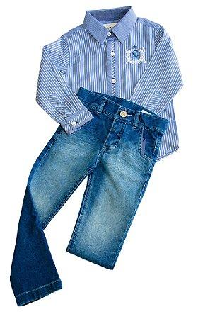 """Conjunto de Camisa e Calça Jeans """"Brasão CZ"""""""