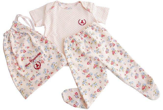 Pijama com Sacolinha Feminino Infantil.