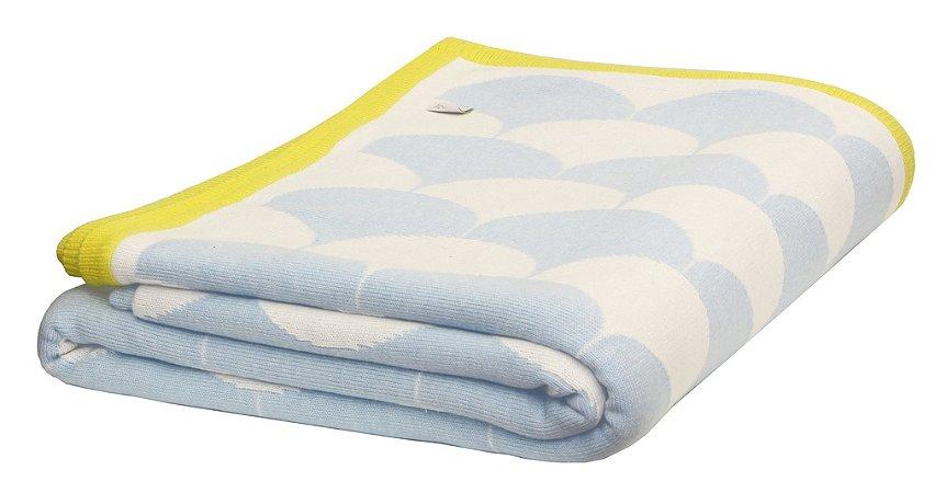 Manta Escamas Branco e Azul com borda Amarelo
