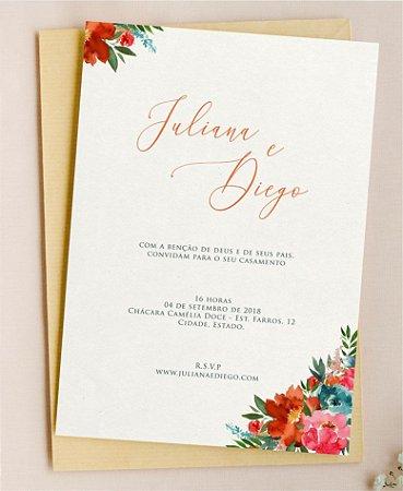 Convite de Casamento ou Identidade Visual - Floral Vibrante [Artes Digitais]