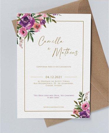 Convite de Casamento ou Identidade Visual - Floral Violeta [Artes Digitais]