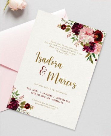 Identidade visual: artes avulsas, kits ou convite de casamento - floral marsala emily [artes digitais]