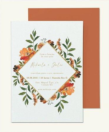 Convite de Casamento ou Identidade Visual - Floral Terracota e Verde Bruna [Artes Digitais]