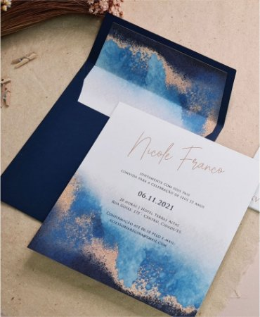Convite de 15 Anos ou Identidade Visual - Azul Aquarelado [Artes Digitais]