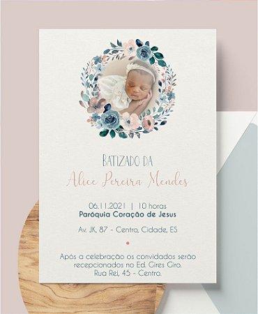 Convite Batizado ou Identidade Visual - Floral Foto [Artes Digitais]