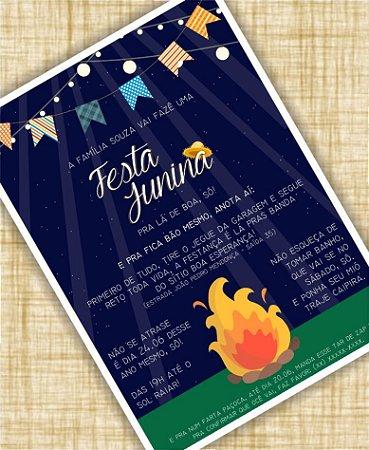 Convite de Festa Junina - Fogueira [Arte Digital]
