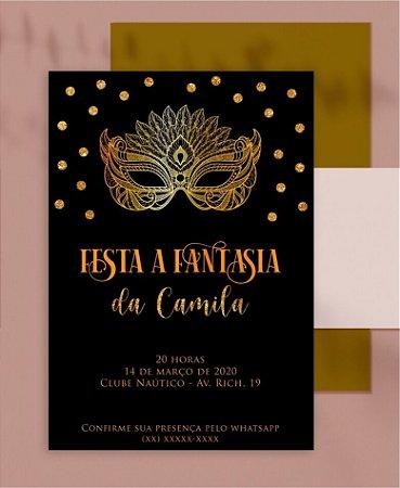 CONVITE ANIVERSÁRIO OU IDENTIDADE VISUAL - FESTA FANTASIA MÁSCARA [ARTES DIGITAIS]