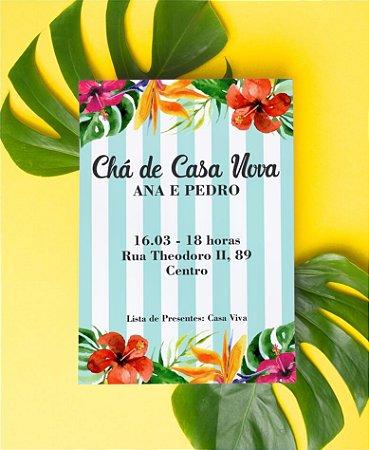 Convite Chá de Casa Nova ou Identidade Visual - Tropical Listras [Artes Digitais]