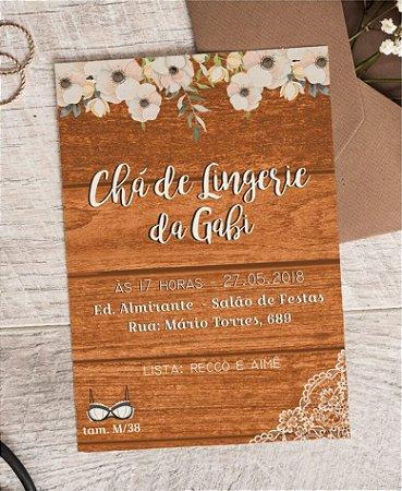 Convite Chá de Lingerie ou Identidade Visual - Floral Madeira [Artes Digitais]