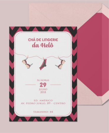 Convite Chá de Lingerie ou Identidade Visual - Geométrico Varal [Artes Digitais]