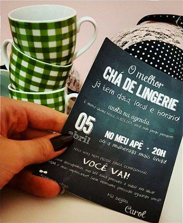 Convite Chá de Lingerie - Quadro Negro Moderno [Arte Digital]