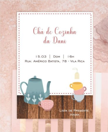 Convite Chá de Cozinha ou Identidade Visual - Bule [Artes Digitais]