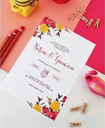 Convite de Casamento ou Identidade Visual - Floral Rosa Amarelado [Artes Digitais]