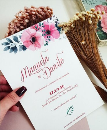 Convite de Casamento ou Identidade Visual - Floral Rosa [Artes Digitais]