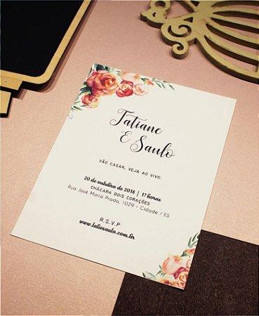 Convite de Casamento ou Identidade Visual - Floral Rosas [Artes Digitais]