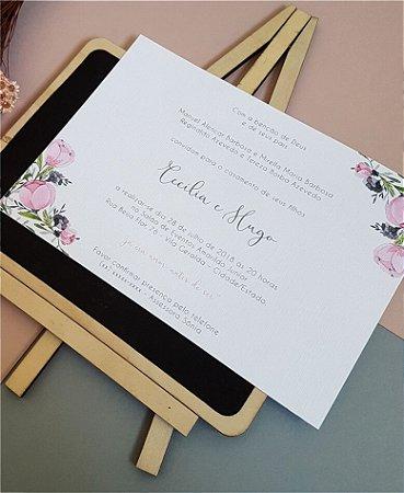 Convite de Casamento ou Identidade Visual - Floral Rosa e Cinza [Artes Digitais]