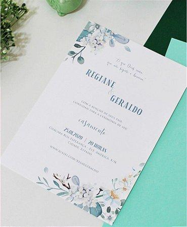 Convite de Casamento ou Identidade Visual - Floral Verde e Branco [Artes Digitais]