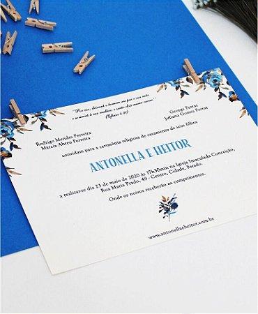 Convite de Casamento ou Identidade Visual - Floral Azul [Artes Digitais]
