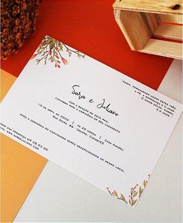 Convite de Casamento ou Identidade Visual - Floral Laranja Queimado [Artes Digitais]