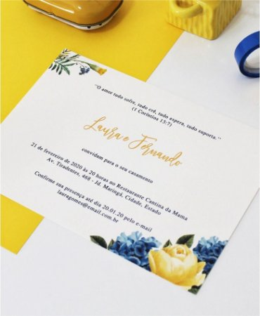 Convite de Casamento ou Identidade Visual - Floral Amarelo e Azul [Artes Digitais]