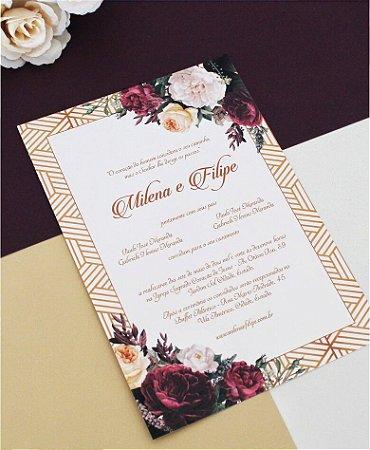 Identidade visual: artes avulsas, kits ou convite de casamento - floral burgundy [artes digitais]