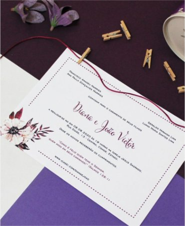 Convite de Casamento ou Identidade Visual - Floral Branco Vinho [Artes Digitais]