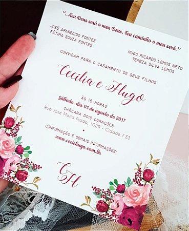 Convite de Casamento ou Identidade Visual - Floral Marsala [Artes Digitais]