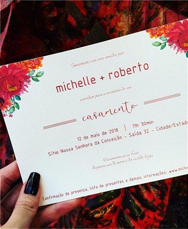 Convite de Casamento ou Identidade Visual - Floral Vermelho [Artes Digitais]