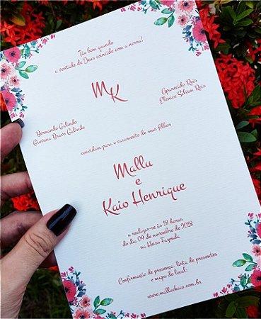 Convite de Casamento ou Identidade Visual - Floral Coral [Artes Digitais]