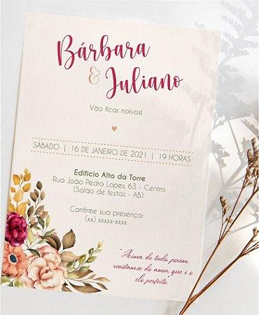 Convite Noivado ou Identidade Visual - Floral Vibrante [Artes Digitais]