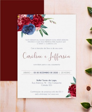Convite de Casamento ou Identidade Visual - Floral Marsala e Azul [Artes Digitais]