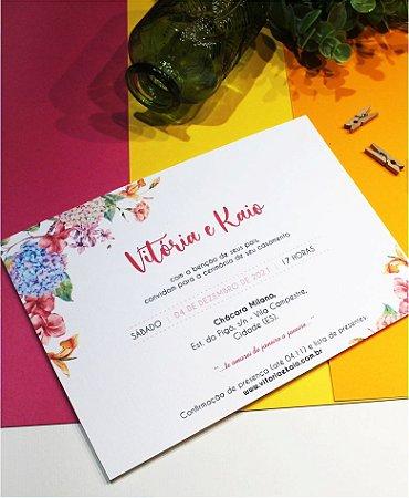 Identidade visual: artes avulsas, kits ou convite de casamento - floral colorido [artes digitais]