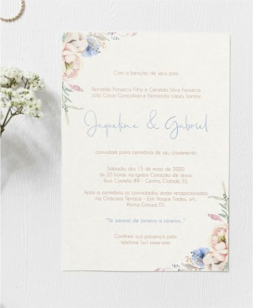 Convite de Casamento ou Identidade Visual - Floral Serenity e Blush Pink [Artes Digitais]