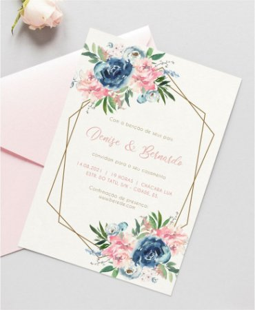 Convite de Casamento ou Identidade Visual - Floral Dusty Blue e Blush Pink [Artes Digitais]