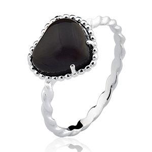 Anel Dreams Coração com aro torcido em Prata 925 com Obsidiana Negra