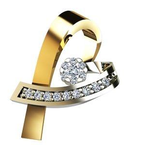 Pingente Coração em Ouro Amarelo e Branco 18K-750 com brilhantes